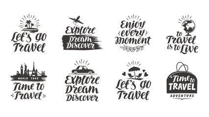 Travel, journey vector set labels. Handwritten lettering