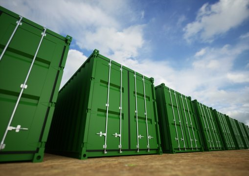 green cargo containers in the row