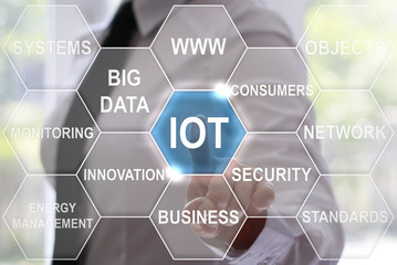 Businesswoman presses internet of things icon on virtual hexagons screen. Businessman touched iot button on touch screen.