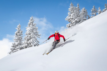 Freeride skiier riding in deep powder snow