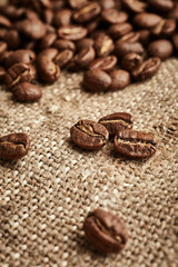 Coffee beans on vintage fabric