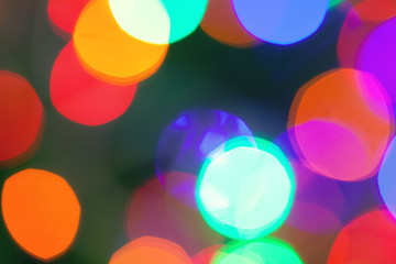 Multi-colored light spots. Defocused abstract lights holiday background