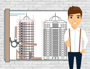 The drawing of a tall building. Architect at work. Drawing board on brick wall background. A professional in the business. Confident of success.