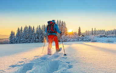 Foto op Plexiglas Wintersporten Snowshoe walker running in powder snow