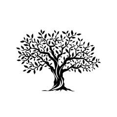 Olive tree silhouette icon isolated on white background.