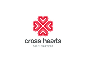 Heart Star Logo vector. Valentine day love Cardiology Cross icon