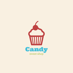 Cupcake Logo design vector. Cake shop Logotype icon