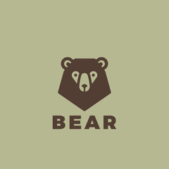 Bear head Logo design. Vintage animal element badges posters