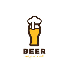 Beer Glass Logo design Linear. Pub Bar Brewery Craft Logotype