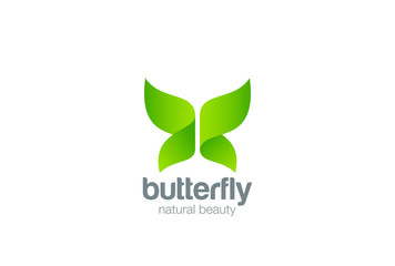 Butterfly Logo design abstract. Beauty Fashion Eco Organic icon