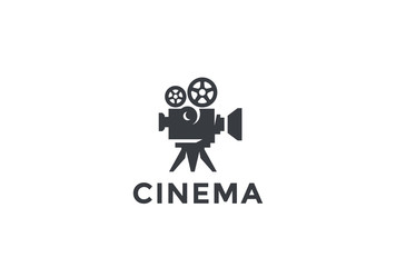 Cinema Old classic Camera Logo design. Film Video company icon