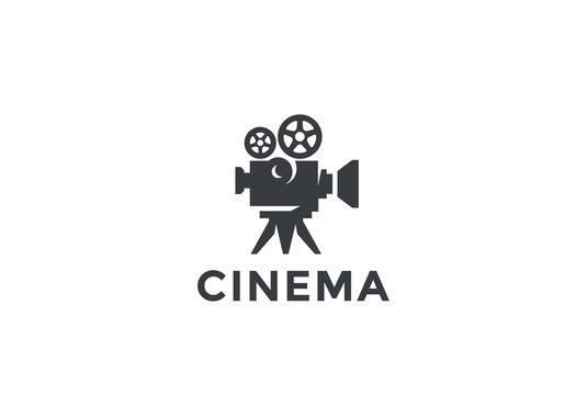 Cinema Old classic Camera Logo design. Film Video company icon