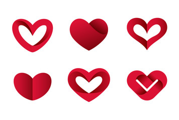 Heart shapes vector icons Valentine day love. Cardiology Medical