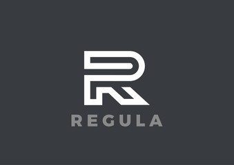 Letter R Logo Luxury design Linear. Type Character Logotype