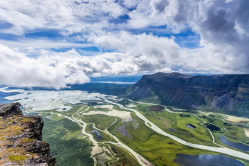 Panoramic view over Rappadelta in Sweden Abisko