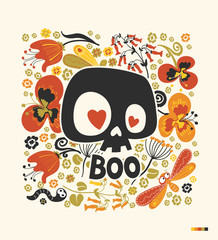 "Funny cartoon human skull silhouette with heart eyes and word ""Boo"" surrounded by colorful flowers and insects. Day of the Dead holiday poster. Vector illustration for postcard, greeting card, print."