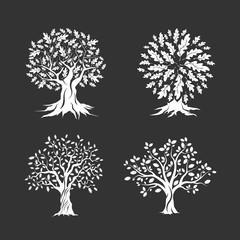 Beautiful oak trees silhouette set