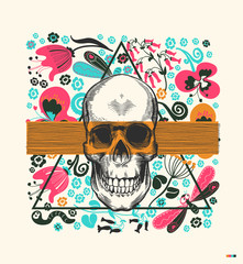 Human skull drawn in vintage engraving style, translucent orange band and triangle on background with flowers and insects. Kitschy vector illustration in pop art style for postcard, flyer, invitation.