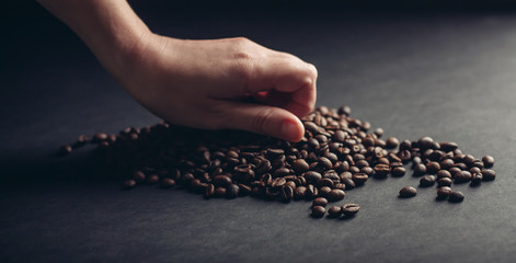coffee beans on a black background