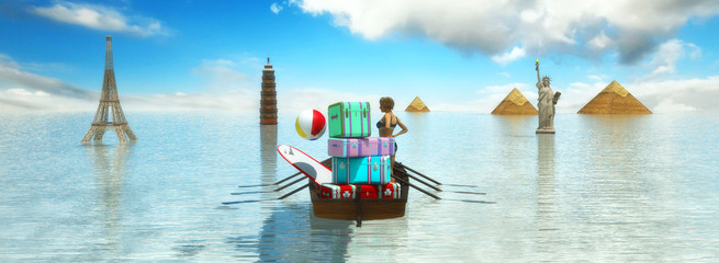 travel with boat and baggage