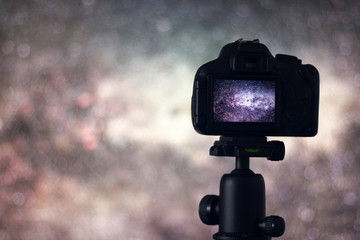 Long exposure photography. Astronomy Astrophotography. Space