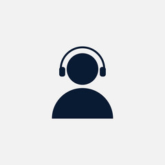 User with headphones icon simple illustration