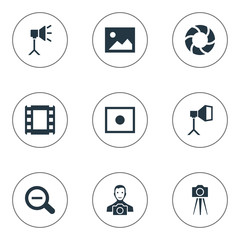 Set Of 9 Simple Photographer Icons. Can Be Found Such Elements As Rustication, Film Strip, Flame Instrument And Other.