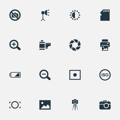 Set Of 16 Simple Photography Icons. Can Be Found Such Elements As Lens, Registration, Magnifying And Other.