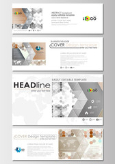 Social media and email headers set, modern banners. Business templates. Cover design template, flat layout in popular formats. Abstract gray color background, hexagonal vector texture.