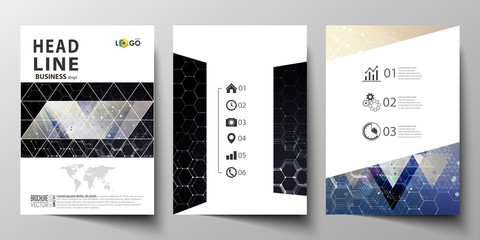 Templates for brochure, magazine, flyer or report. Cover design template, easy editable vector layout in A4 size. Chemistry pattern, hexagonal molecule structure. Medicine and science concept