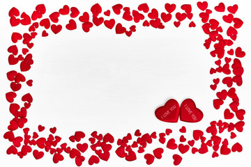 Valentines Day background. Red hearts on white background. Top view, copy space