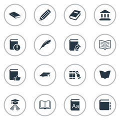 Set Of 16 Simple Reading Icons. Can Be Found Such Elements As Alphabet, Reading, Notebook And Other.