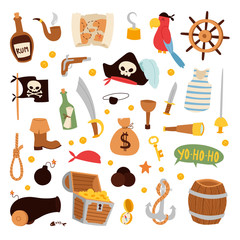 Pirate stickers icons vector.