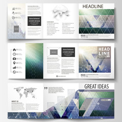 Set of business templates for tri fold brochures. Square design. Leaflet cover, abstract vector layout. Chemistry pattern, hexagonal molecule structure. Medicine, science, technology concept.