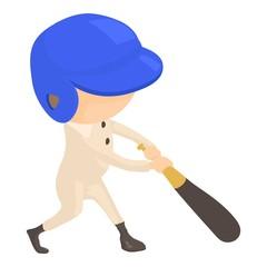 Baseball player icon, cartoon style
