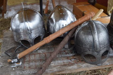 Viking helmets and axes
