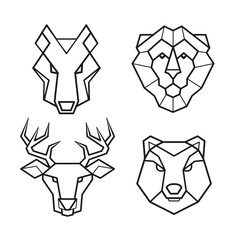 Wild animals geometric head vector set
