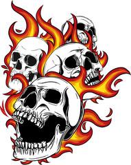 teschio con fiamme