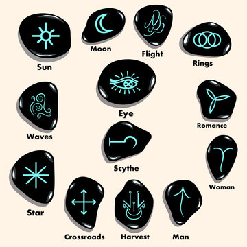 Set of  Witches runes, wiccan divination symbols carved in stone