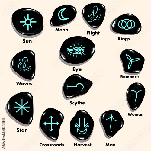 Set Of Witches Runes Wiccan Divination Symbols Carved In Stone