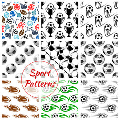 Sport balls and items seamless patterns set