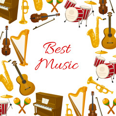 Best music vector poster of musical instruments