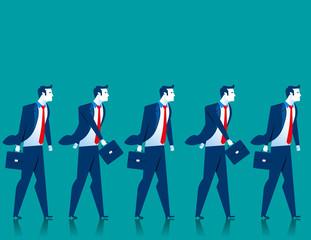 Teamwork. Businessmen walk