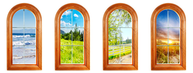 Round top window with beautiful views coast to coast