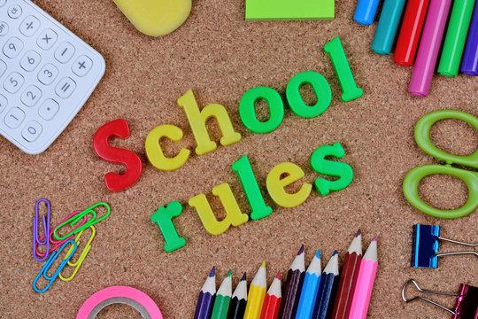School rules words on cork