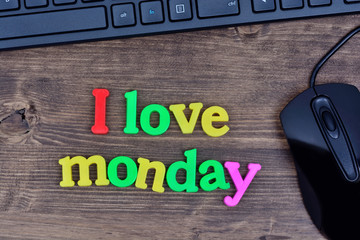 I love monday words on table