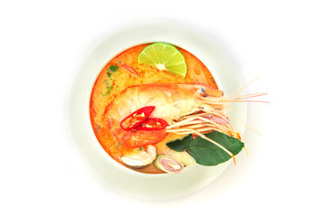 Close up Asian Spicy soup with shrimp in white bowl