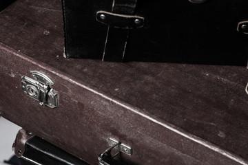 Close-up of a suitcase Traveler iron lock vintage bag