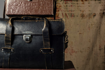Leather suitcases old photographer