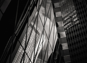 Commercial Buildings stretch up to the sky with B&W color